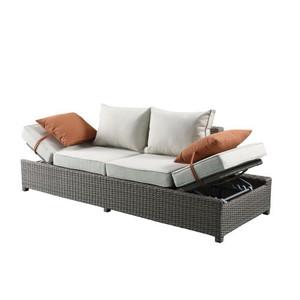 Patio Sofa & Ottoman w/2 Pillows in Beige Fabric & Gray Wicker 45015