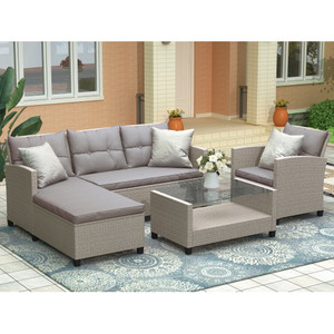 U_STYLE Living room,Outdoor, Patio Furniture Sets, 4 Piece Conversation Set Wicker Ratten Sectional Sofa with Seat Cushions(Beige Brown)