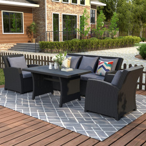U_STYLE Outdoor Patio Furniture Set 4-Piece Conversation Set Black Wicker Furniture Sofa Set with Dark Grey Cushions