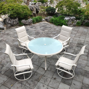 Patio Swivel Dining Chairs Set of 4 Outdoor Kitchen Garden Alu.Chair with Textilene Mesh Fabric Patio Furniture Rocker Chair