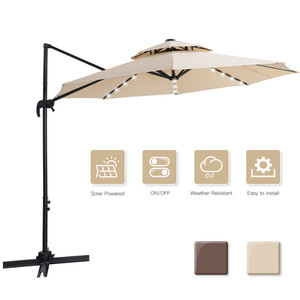 10 FT patio umbrella Solar Powered LED Patio Outdoor Umbrella Hanging Umbrella Cantilever Umbrella Offset Umbrella 360 Degree Rotation with 28 LED Lights & cross base- beige