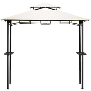 U_STYLE Tented BBQ Canopy for Outdoor Activities, Grill Gazebo with Shelves and Metal Frame, Beige