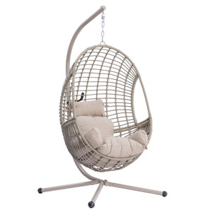 Rattan Egg Chair with Cushion and Stand,Hanging Chair for Indoor and Outdoor Lounging Chair Bedroom Patio Garden