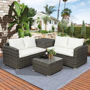 TOPMAX 4 PCS Outdoor Cushioned PE Rattan Wicker Sectional Sofa Set Garden Patio Furniture Set (Beige Cushion)