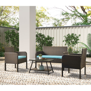 U_Style 4 Piece Rattan Sofa Seating Group with Cushions, Outdoor Ratten sofa
