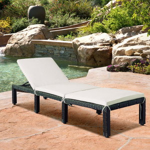 TOPMAX Patio Furniture Outdoor Adjustable PE Rattan Wicker Chaise Lounge Chair Sunbed (White Cushion)