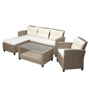 Patio Furniture Sets, 4 Piece Conversation Set Wicker Ratten Sectional Sofa with Seat Cushions
