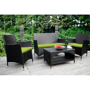 TOPMAX 4 PCS Patio Furniture Outdoor Garden Conversation Wicker Sofa Set, Green Cushions