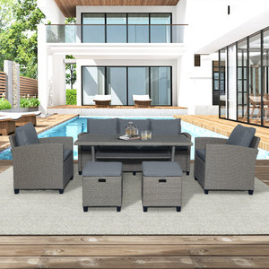 6-Piece Outdoor Rattan Wicker Set Patio Garden Backyard Sofa, Chair, Stools and Table