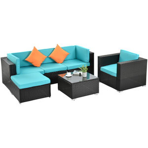 Outdoor Garden Patio Furniture 6-Piece PE Rattan Wicker Sectional Cushioned Sofa Sets with 2 Pillows and Coffee Table