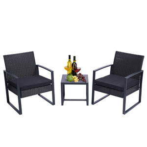 3 Pieces Patio Set Outdoor Wicker Patio Furniture Sets Modern Set Rattan Chair Conversation Sets with Coffee Table for Yard and Bistro (Black)