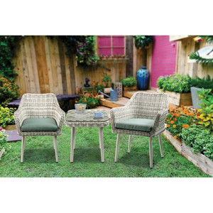ACME Tashay Patio Bistro Set (3Pc) in Green Fabric & Beige Wicker