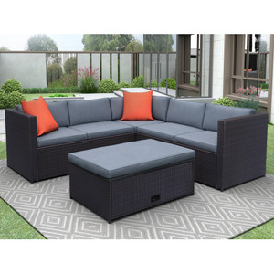 TOPMAX 4 Piece Cushioned Outdoor Patio PE Rattan Furniture Set Sectional Garden Sofa (Brown wicker + Grey cushion)