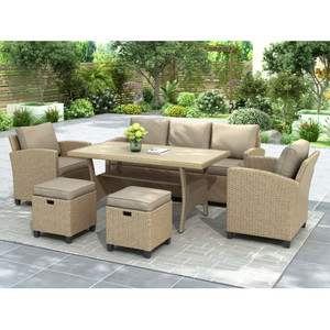 TOPMAX 6 Piece Outdoor Rattan Wicker Set Patio Garden Backyard Sofa, Chair, Stools and Table