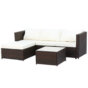 2-Piece Outdoor Conversation Set Rattan Patio Furniture Set Bistro Set Sofa Chairs with Coffee Table(Beige Cushions)
