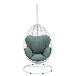 Patio Swing Chair with Stand in Green Fabric & White Wicker