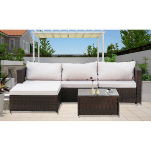 2-Piece Outdoor Conversation Set Rattan Patio Furniture Set Bistro Set Sofa Chairs with Coffee Table(Gray Cushions)