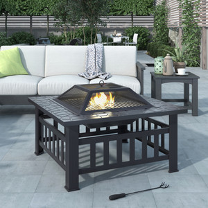 U-style Outdoor Metal Wood Burning Square Fire Pit with Spark Screen, Log Poker and Cover