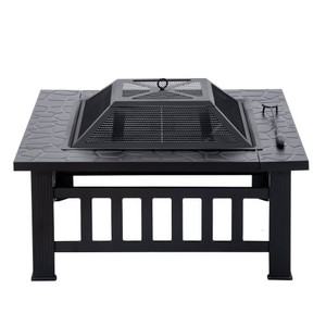 Outdoor Metal Wood Burning Square Fire Pit with Spark Screen, Log Poker and Cover