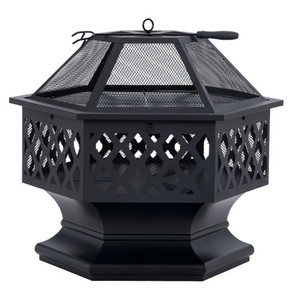 Outdoor Steel Wood Burning Fire Pit with Spark Screen and Poker for Camping Patio Backyard Garden (Hexagonal Shaped)