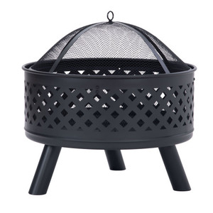 Round Outdoor Steel Wood Burning Fire Pit with Spark Screen for Backyard Garden Camping Bonfire Patio,Black