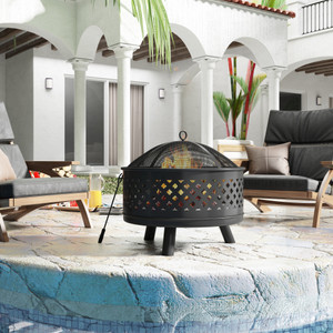 U-style Round Outdoor Steel Wood Burning Fire Pit with Spark Screen for Backyard Garden Camping Bonfire Patio,Black
