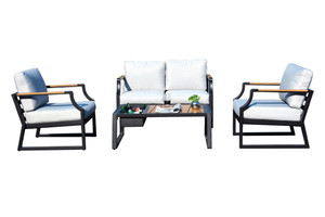 4-Piece Iron Outdoor Sofa with Cushions