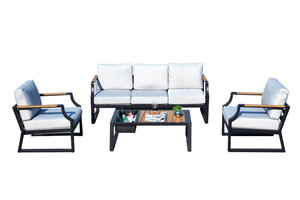 4-Piece Iron Outdoor Sofa with Cushions-2104