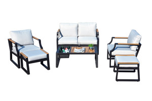 6-Piece Iron Outdoor Sofa with Cushions-2106