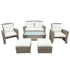 Patio Furniture  4 Piece Outdoor Conversation Set All Weather Wicker Sectional Sofa with Ottoman and Cushions