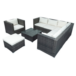 Patio Furniture Sets, All-Weather Outdoor PE Rattan Sectional Sofa, 8-Piece Patio Wicker Corner Sofa with Cushions, Ottoman and Coffee Table
