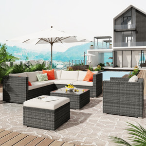 U_STYLE Patio Furniture Sets, All-Weather Outdoor PE Rattan Sectional Sofa, 8-Piece Patio Wicker Corner Sofa with Cushions, Ottoman and Coffee Table
