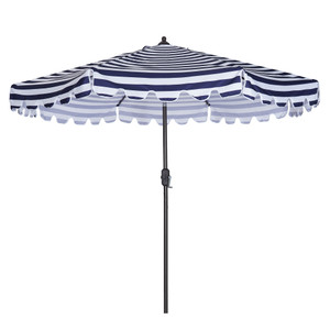 Outdoor Patio Umbrella 9-Feet Flap Market Table Umbrella 8 Sturdy Ribs with Push Button Tilt and Crank, blue/white with Flap[Umbrella Base is not Included]