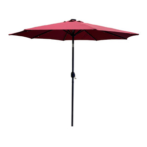 9Ft Patio Umbrella Outdoor Solar Powered Aluminum Polyester 32 LED Lighted Umbrella with Tilt and Crank for Garden, Deck, Backyard, Pool-Burgundy