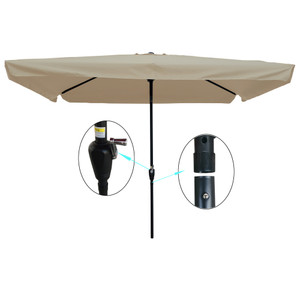 10 x 6.5ft Rectangular Patio Umbrella Outdoor Market Table Umbrellas Waterproof Umbrella with Crank and Push Button Tilt for Garden Deck Backyard Pool Shade Outside Deck Swimming Pool Market