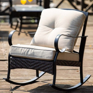2-piece Outdoor Freestyle Iron Rocking Chairs Set
