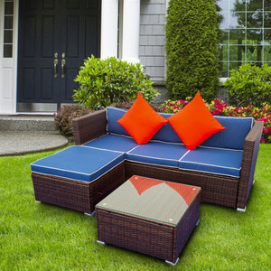 3 Piece Patio Sectional Wicker Rattan Outdoor Furniture Sofa Set
