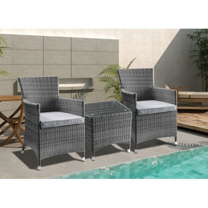 TOPMAX Outdoor Patio Furniture Set, 5-Piece Wicker Rattan Sectional Sofa Set, Brown and Gray