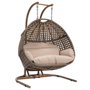 Factory price double seats round shape egg hanging chair patio swings