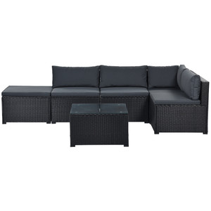 6-Piece Outdoor Furniture Set with PE Rattan Wicker, Patio Garden Sectional Sofa Chair, removable cushions (Black wicker, Grey cushion)