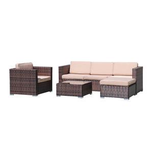 4-Piece PE Rattan Sofa Set with Cushions