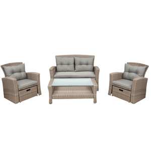 Patio Furniture Set, 4 Piece Outdoor Conversation Set All Weather Wicker Sectional Sofa with Ottoman and Cushions