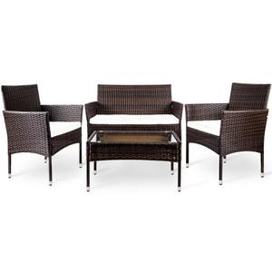 4 PC Outdoor Garden Rattan Patio Furniture Set Cushioned Seat Wicker Sofa (Brown)