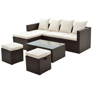 5-Piece All Weather PE Wicker Sofa Set Rattan Adjustable Chaise Lounge with Tempered Glass Tea Table and Removable Cushions, Beige Cushion+Brown Wicker