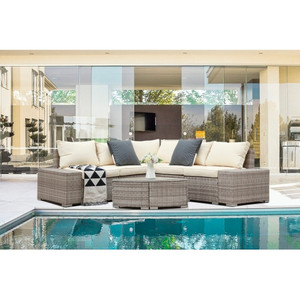 6 PCs Outdoor Patio PE Rattan Wicker Sofa Sectional Furniture grey rattan with beige cushion