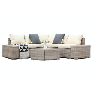 6 PCs Outdoor Patio PE Rattan Wicker Sofa Sectional Furniture grey rattan with beige cushion