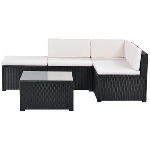 5-Piece Patio Rattan PE Wicker Furniture Corner Sofa Set, with 2 Sofa chairs, 1 Corner chair, 1 ottoman and 1 glass coffee table, Sectional Sofa Chair, Seating, Lying(Black Wicker, Beige Cushion)