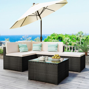 GO 5-Piece Patio Rattan PE Wicker Furniture Corner Sofa Set, with 2 Sofa chairs, 1 Corner chair, 1 ottoman and 1 glass coffee table, Sectional Sofa Chair, Seating, Lying(Black Wicker, Beige Cushion)