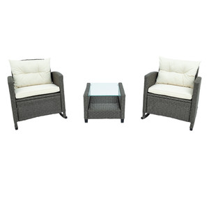 3 Piece Rocking Patio Furniture Set, Wicker Rattan Set with Cushions and Glass-Top Coffee Table for Garden Backyard