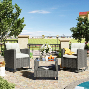 U_STYLE 3 Piece Rocking Patio Furniture Set, Wicker Rattan Set with Cushions and Glass-Top Coffee Table for Garden Backyard